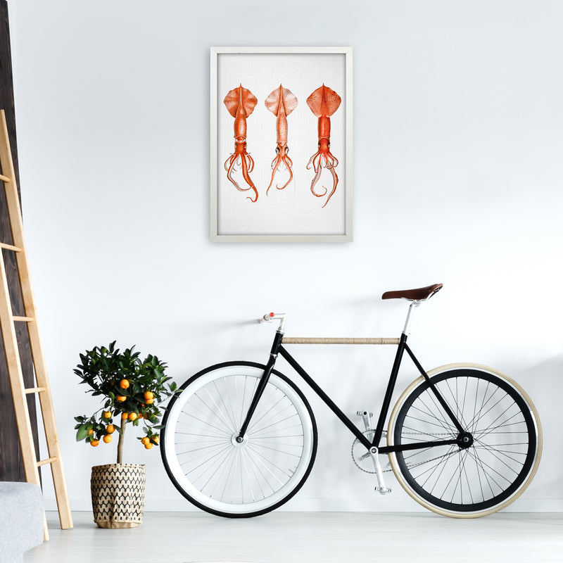 Squids - Watercolor Animals Art Print by Gal Design A2 Oak Frame