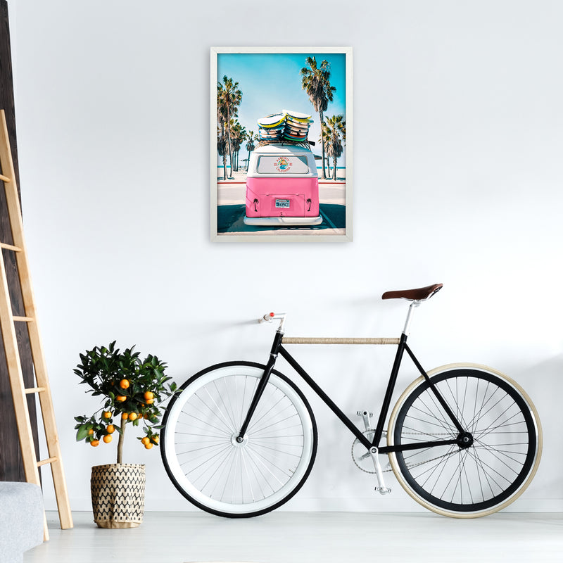 Van Life in Pink Photography Art Print by Gal Design A2 Oak Frame