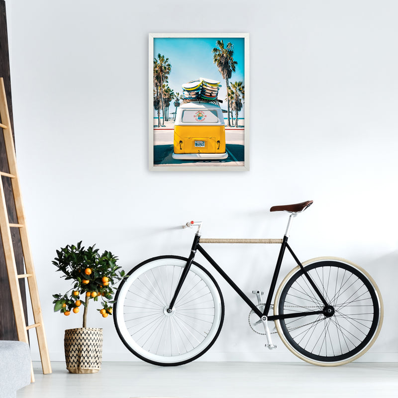 Van Life in Yellow Photography Art Print by Gal Design A2 Oak Frame