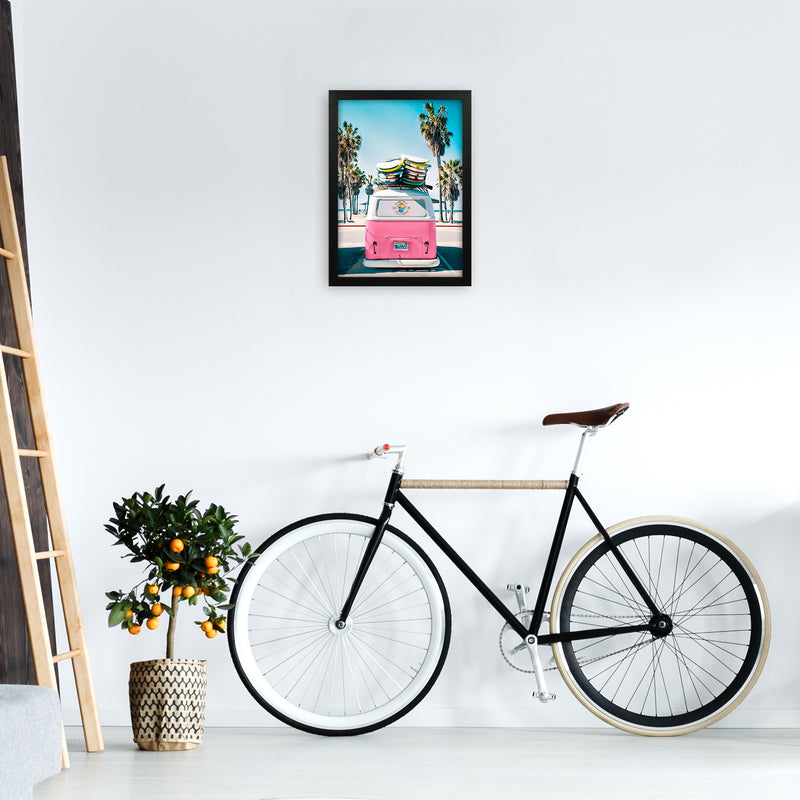 Van Life in Pink Photography Art Print by Gal Design A3 White Frame