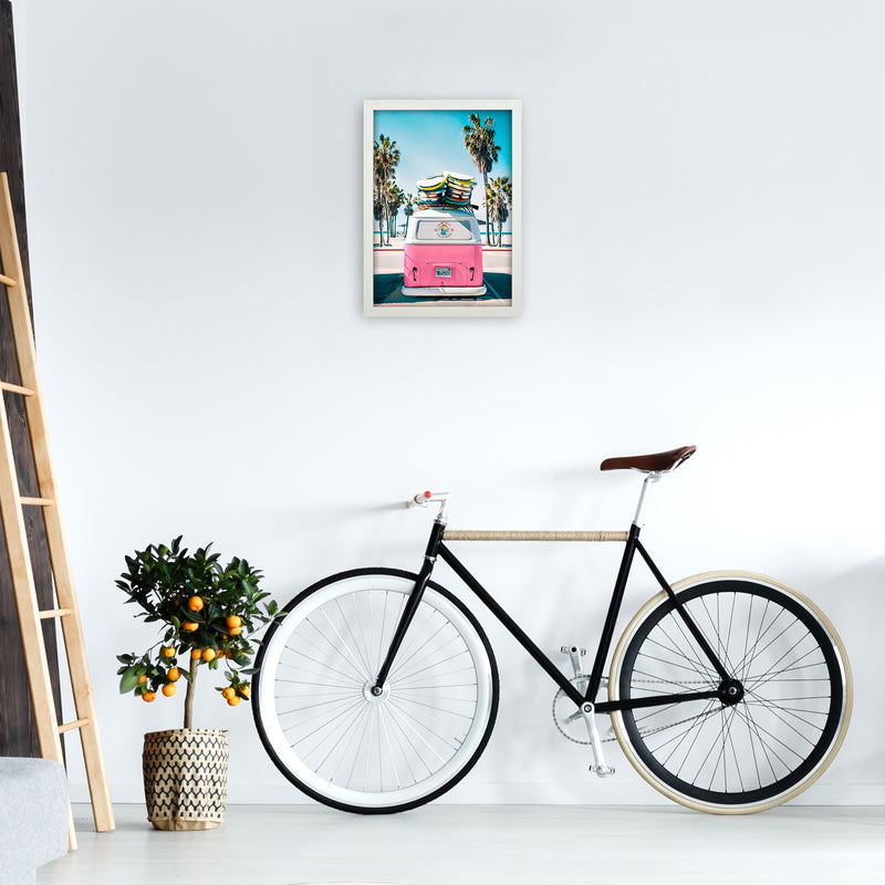 Van Life in Pink Photography Art Print by Gal Design A3 Oak Frame