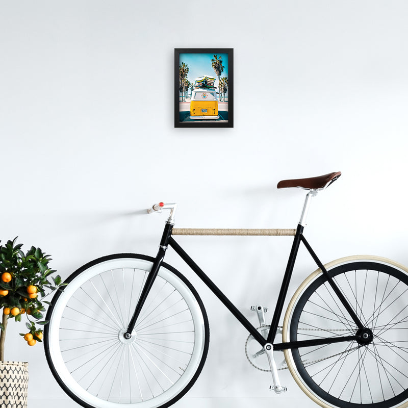 Van Life in Yellow Photography Art Print by Gal Design A4 White Frame