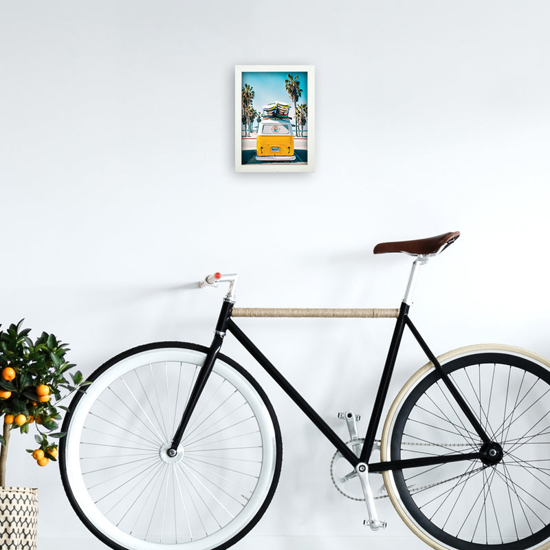 Van Life in Yellow Photography Art Print by Gal Design A4 Oak Frame