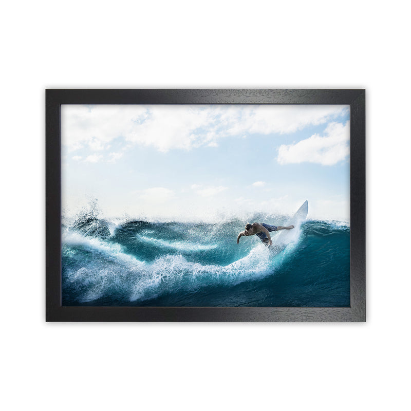 Catch a Wave 2 Photography Art Print by Gal Design Black Grain