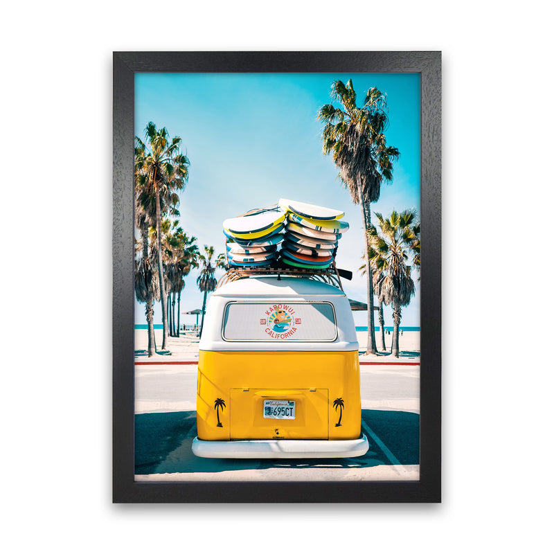 Van Life in Yellow Photography Art Print by Gal Design Black Grain
