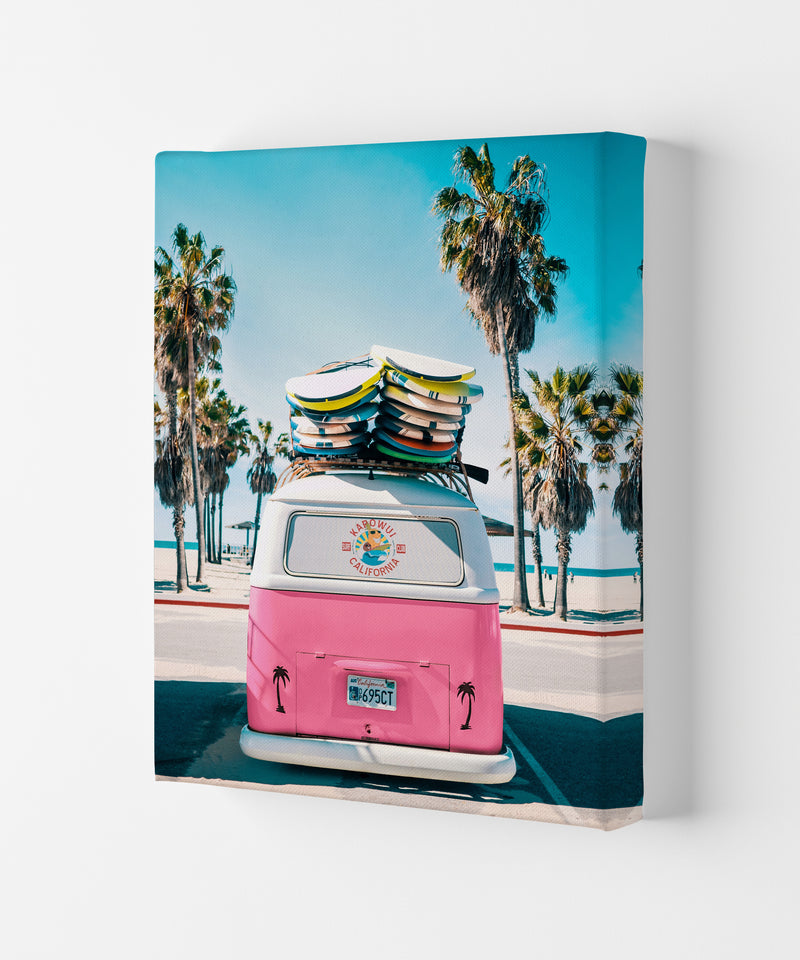 Van Life in Pink Photography Art Print by Gal Design Canvas