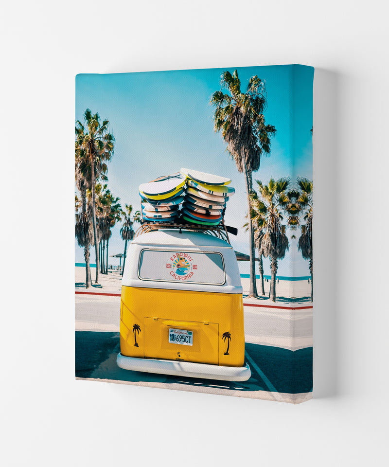 Van Life in Yellow Photography Art Print by Gal Design Canvas