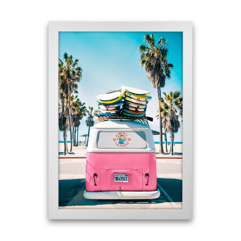Van Life in Pink Photography Art Print by Gal Design White Grain