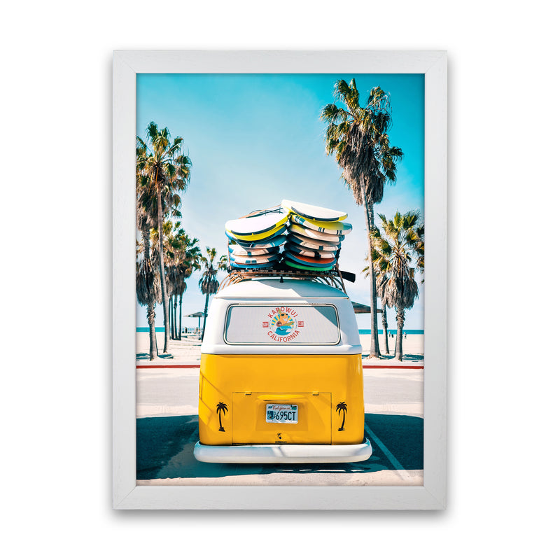 Van Life in Yellow Photography Art Print by Gal Design White Grain