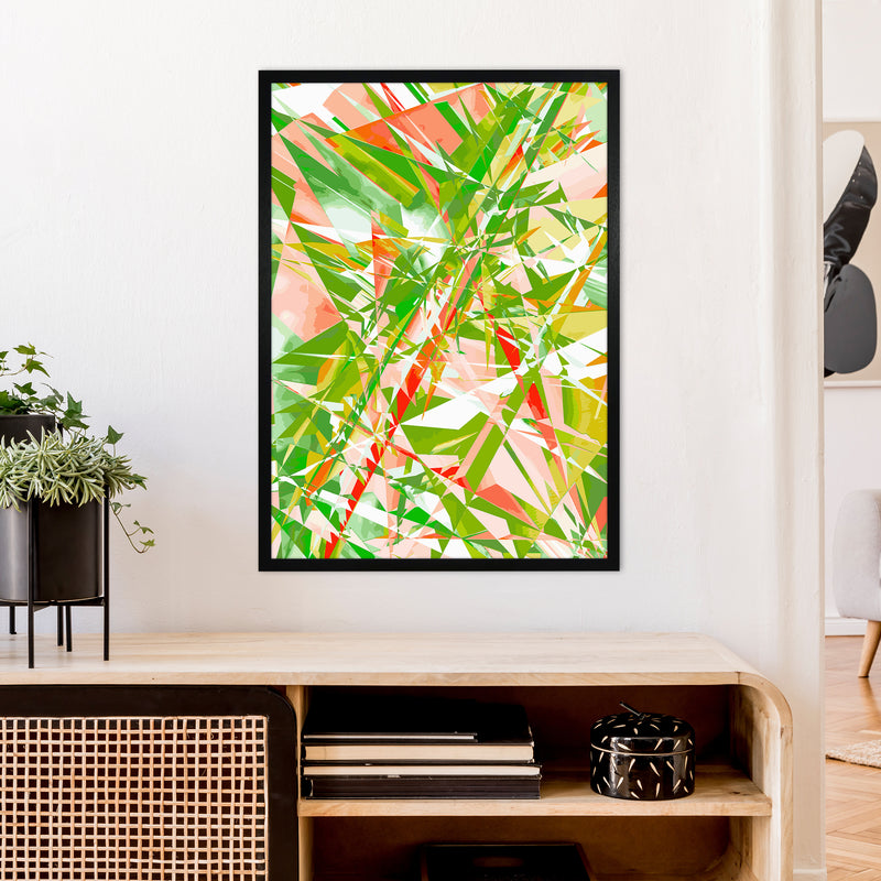 Shatter 4 Abstract Art Print by Henry Hu A1 White Frame