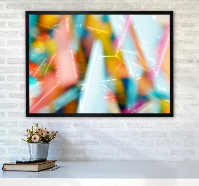 Rush 1 Abstract Art Print by Henry Hu A1 White Frame