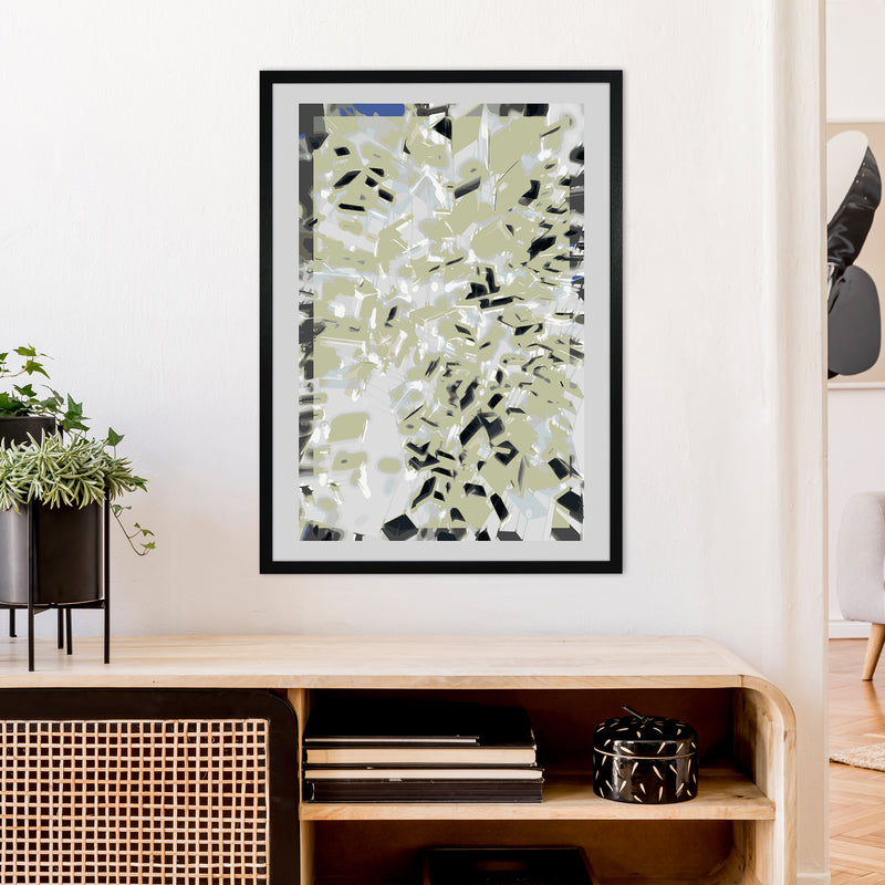 Pane 4 Abstract Art Print by Henry Hu A1 White Frame