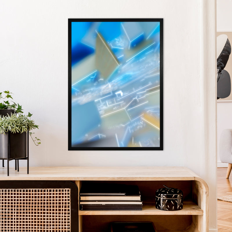 Electric Blue 6 Abstract Art Print by Henry Hu A1 White Frame