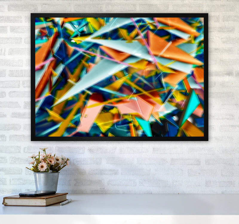 Blurred Triangles 2 Abstract Art Print by Henry Hu A1 White Frame