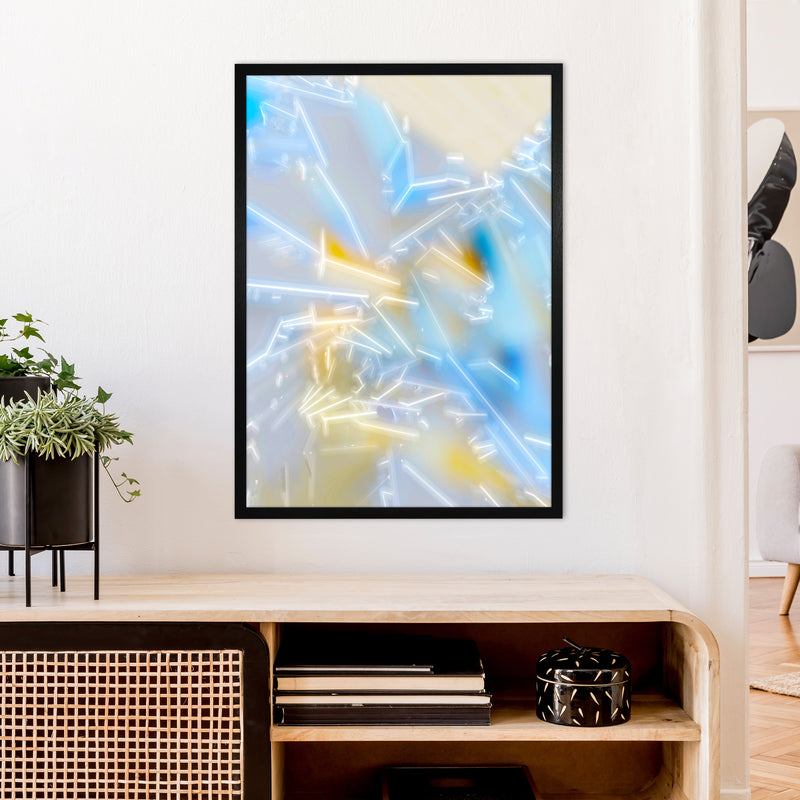 Electric Blue 2 Abstract Art Print by Henry Hu A1 White Frame