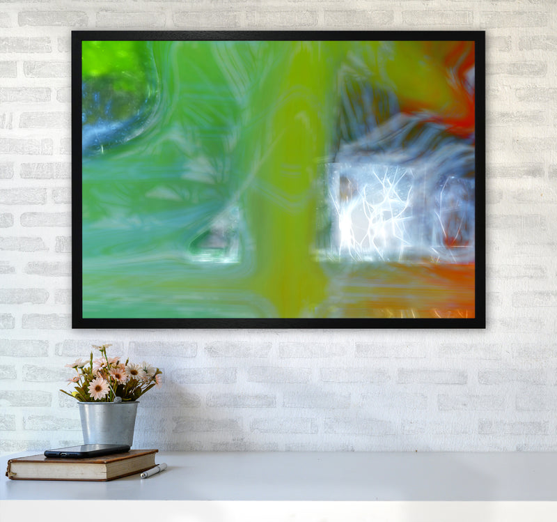 Storm Abstract Art Print by Henry Hu A1 White Frame