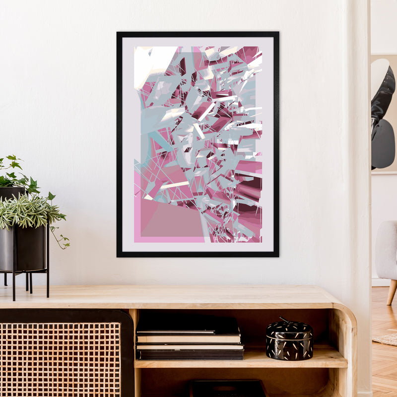 Pink & Grey Squares Abstract Art Print by Henry Hu A1 White Frame
