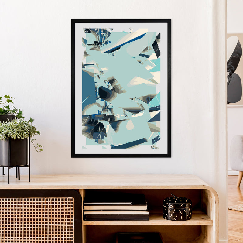 Blue Fade Abstract Art Print by Henry Hu A1 White Frame