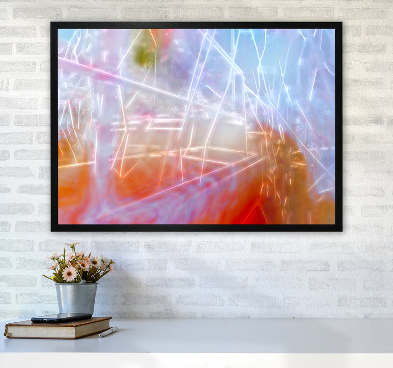 Neon Abstract Art Print by Henry Hu A1 White Frame