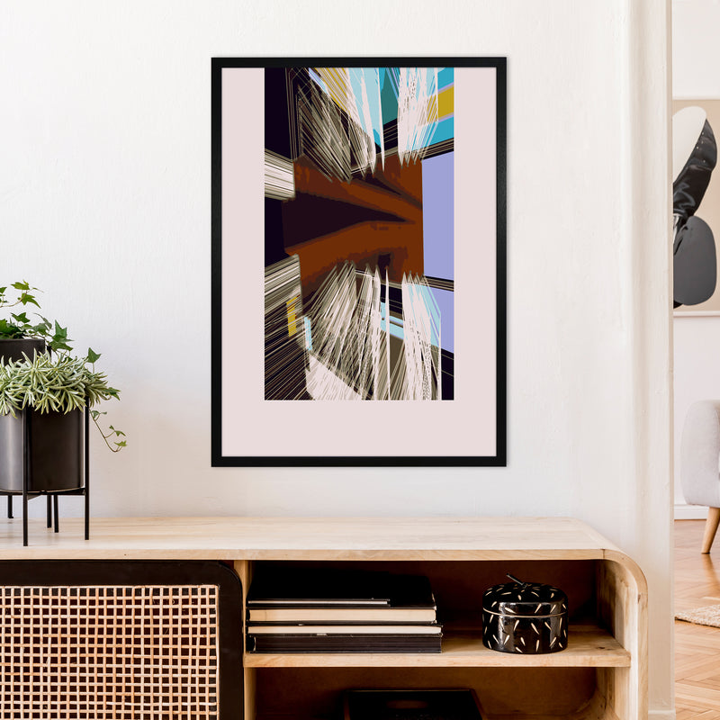 Unit 2 Abstract Art Print by Henry Hu A1 White Frame