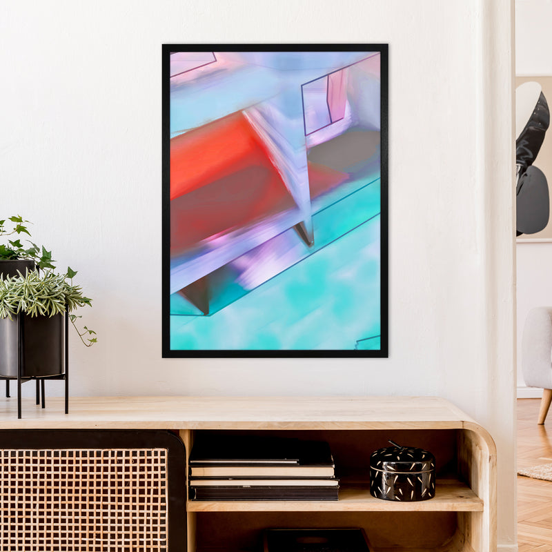 Hillside Abstract Art Print by Henry Hu A1 White Frame