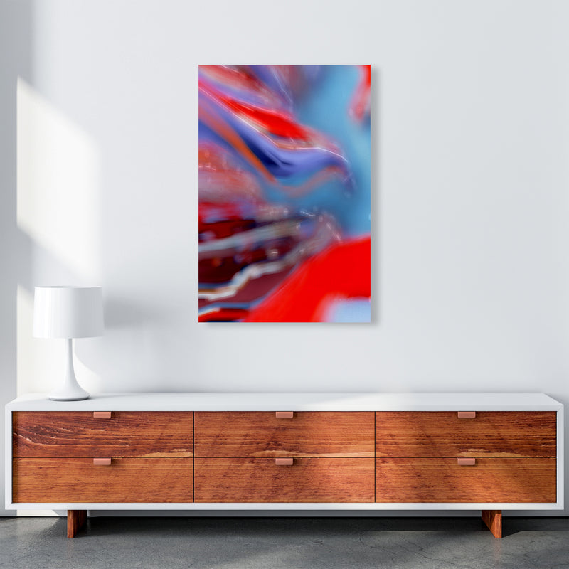 Red Stripe 2 Abstract Art Print by Henry Hu A1 Canvas