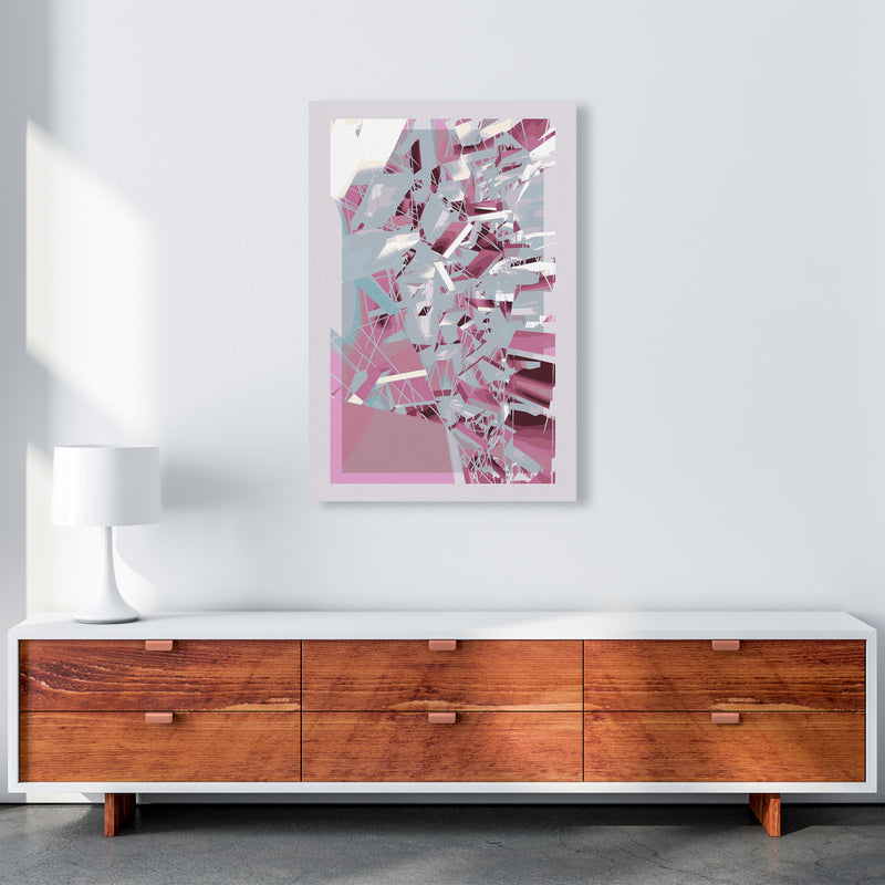 Pink & Grey Squares Abstract Art Print by Henry Hu A1 Canvas