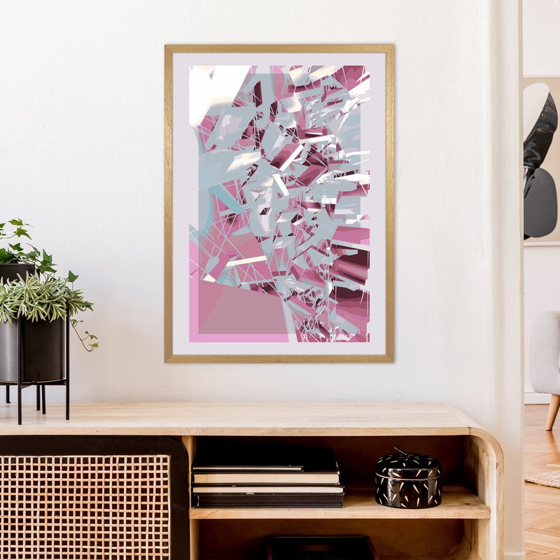Pink & Grey Squares Abstract Art Print by Henry Hu A1 Print Only