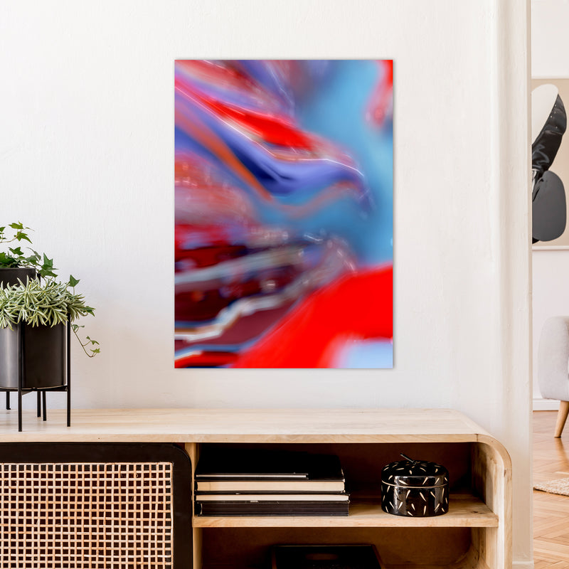 Red Stripe 2 Abstract Art Print by Henry Hu A1 Black Frame