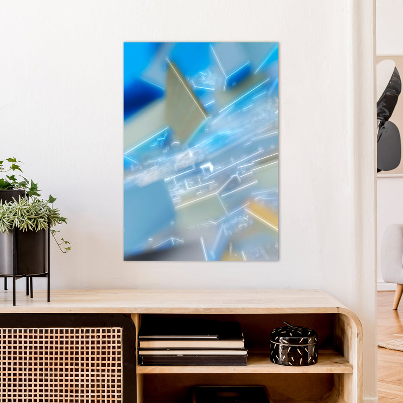 Electric Blue 6 Abstract Art Print by Henry Hu A1 Black Frame