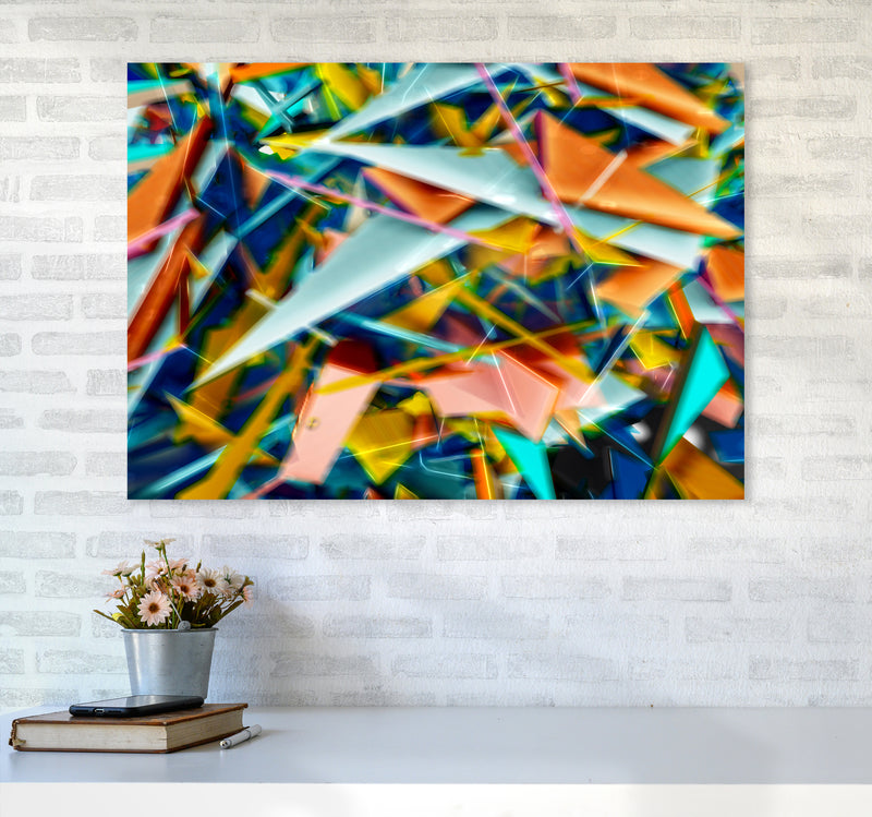 Blurred Triangles 2 Abstract Art Print by Henry Hu A1 Black Frame