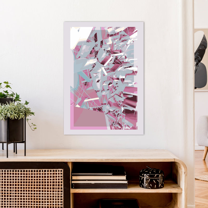 Pink & Grey Squares Abstract Art Print by Henry Hu A1 Black Frame