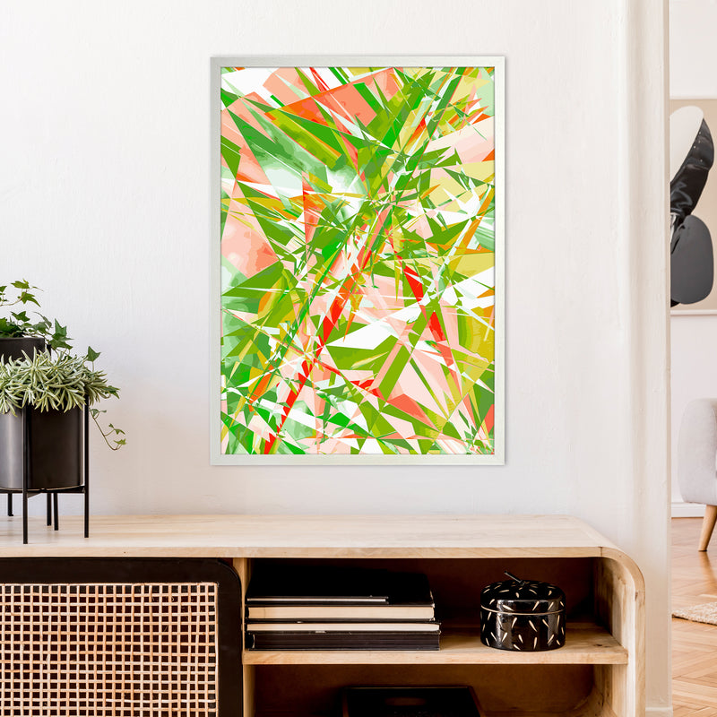 Shatter 4 Abstract Art Print by Henry Hu A1 Oak Frame