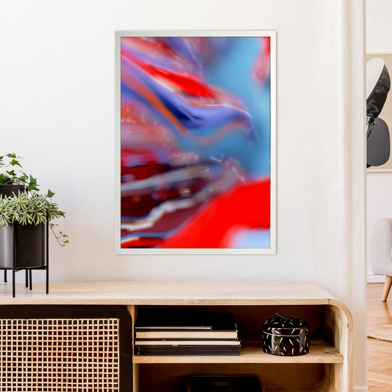 Red Stripe 2 Abstract Art Print by Henry Hu A1 Oak Frame