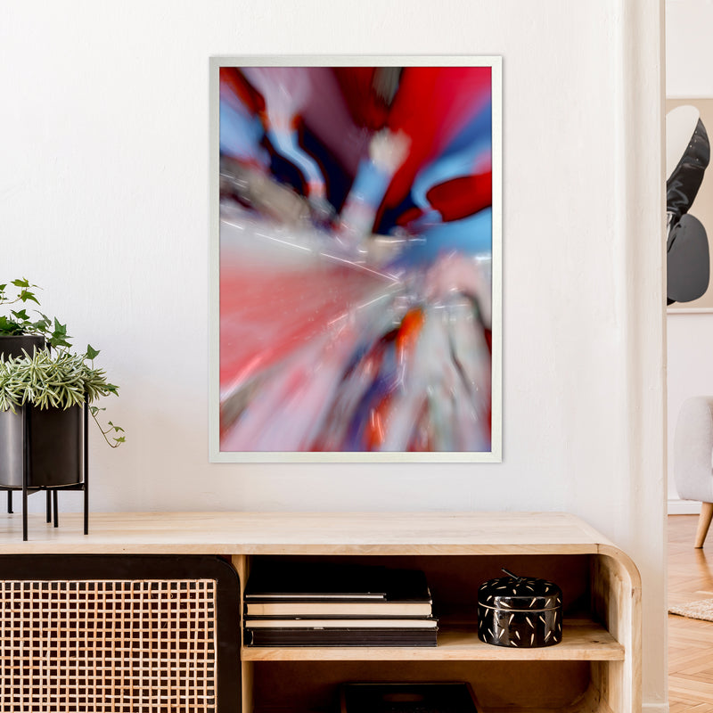 Red Stripe 3 Abstract Art Print by Henry Hu A1 Oak Frame