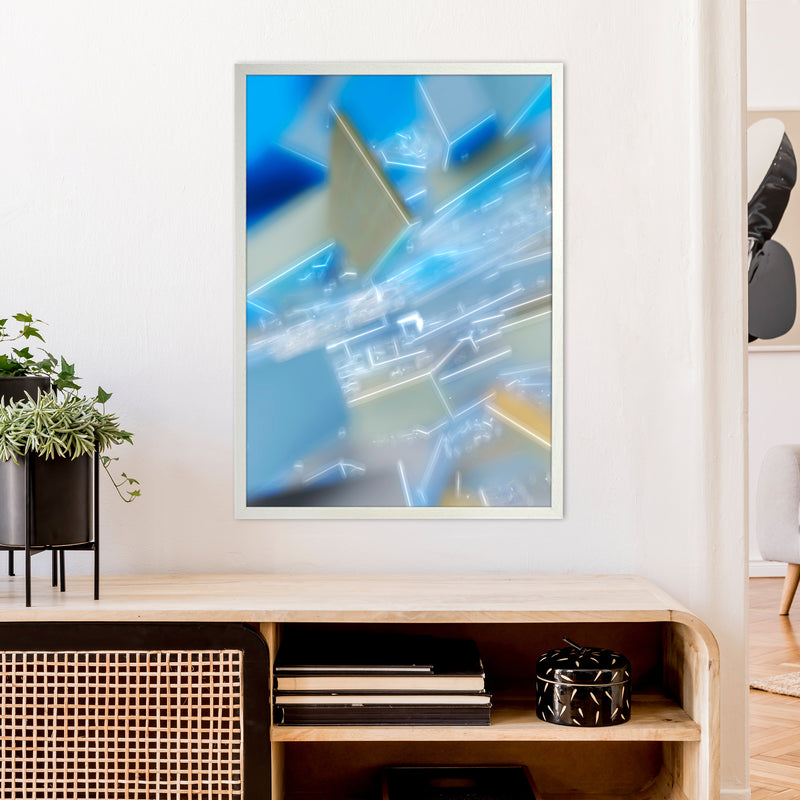 Electric Blue 6 Abstract Art Print by Henry Hu A1 Oak Frame