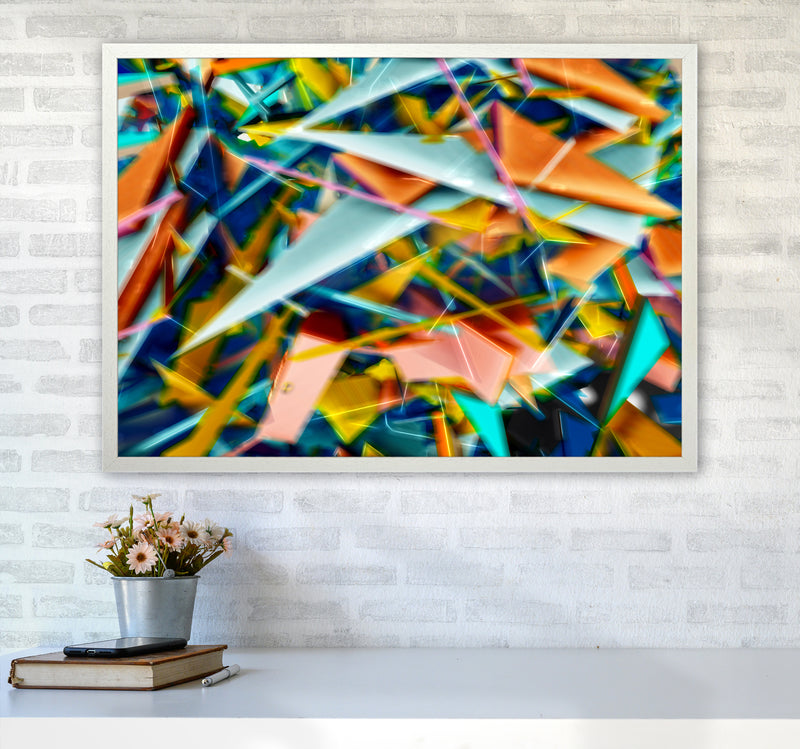 Blurred Triangles 2 Abstract Art Print by Henry Hu A1 Oak Frame