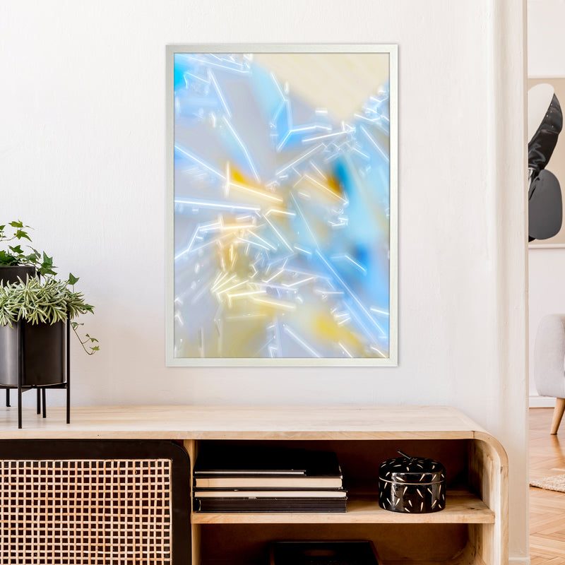 Electric Blue 2 Abstract Art Print by Henry Hu A1 Oak Frame