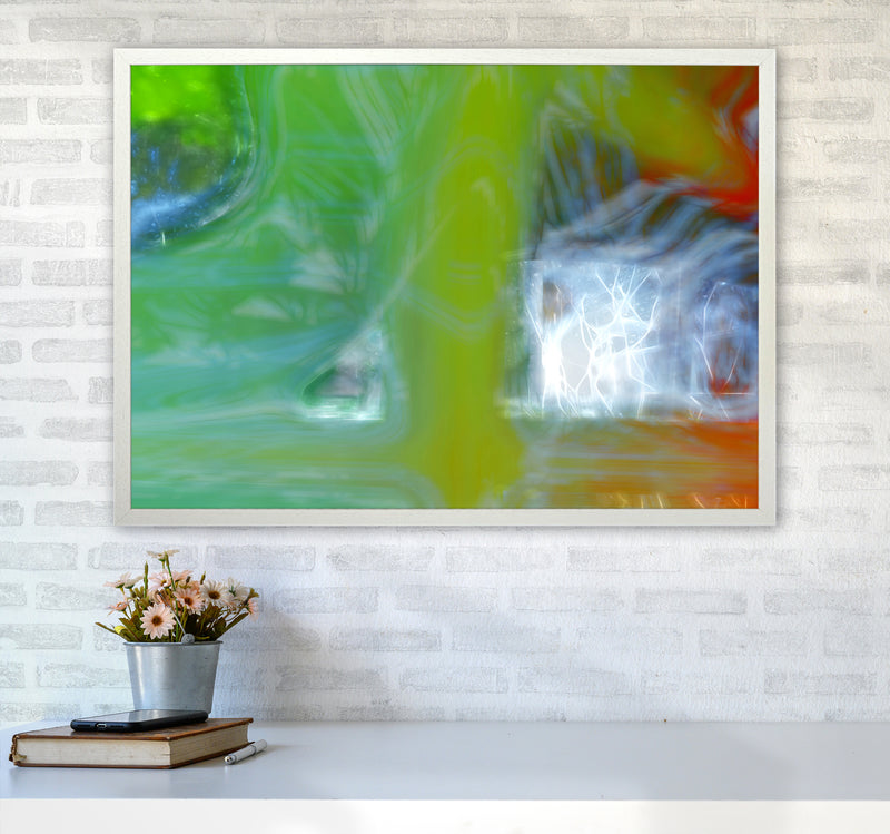 Storm Abstract Art Print by Henry Hu A1 Oak Frame