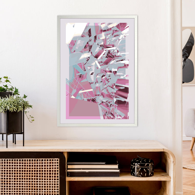 Pink & Grey Squares Abstract Art Print by Henry Hu A1 Oak Frame