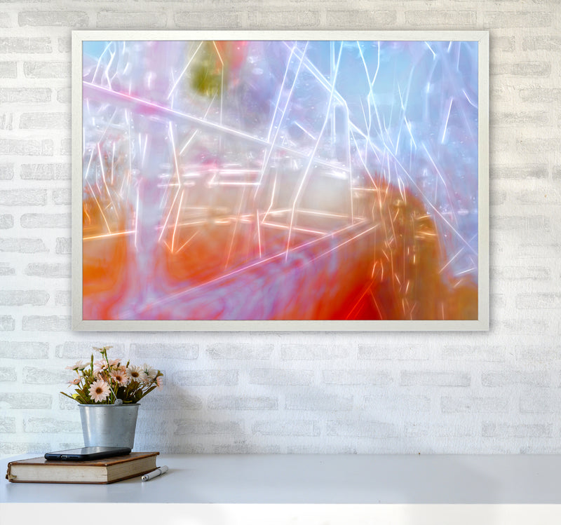 Neon Abstract Art Print by Henry Hu A1 Oak Frame