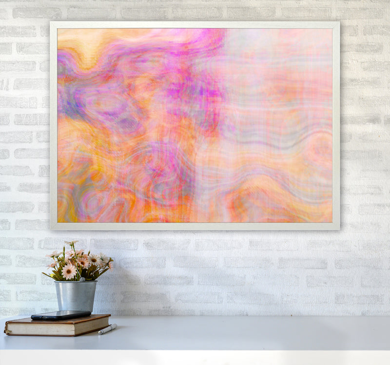Creation 2 Abstract Art Print by Henry Hu A1 Oak Frame
