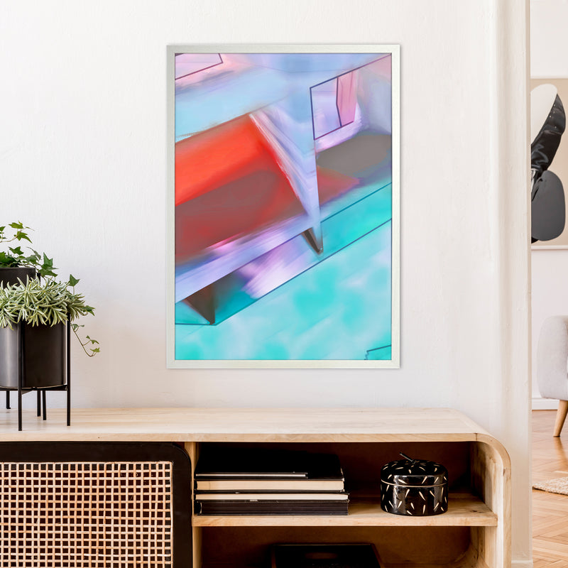 Hillside Abstract Art Print by Henry Hu A1 Oak Frame
