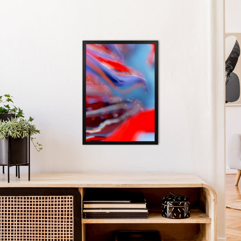 Red Stripe 2 Abstract Art Print by Henry Hu A2 White Frame