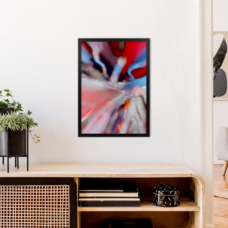 Red Stripe 3 Abstract Art Print by Henry Hu A2 White Frame