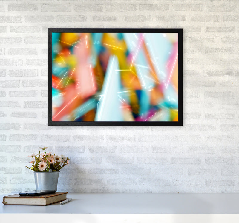 Rush 1 Abstract Art Print by Henry Hu A2 White Frame