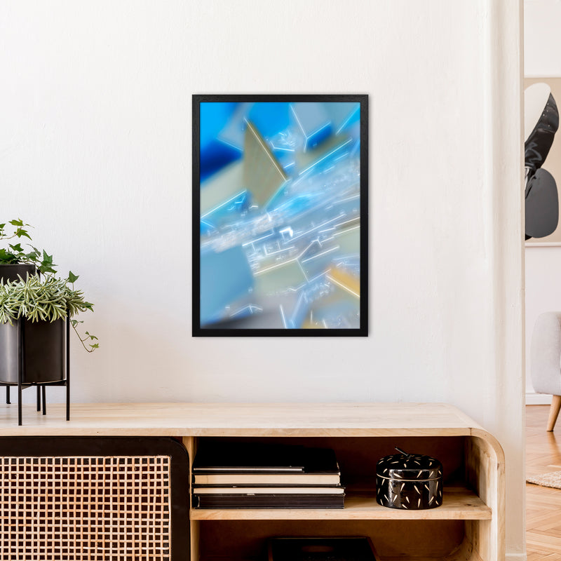 Electric Blue 6 Abstract Art Print by Henry Hu A2 White Frame