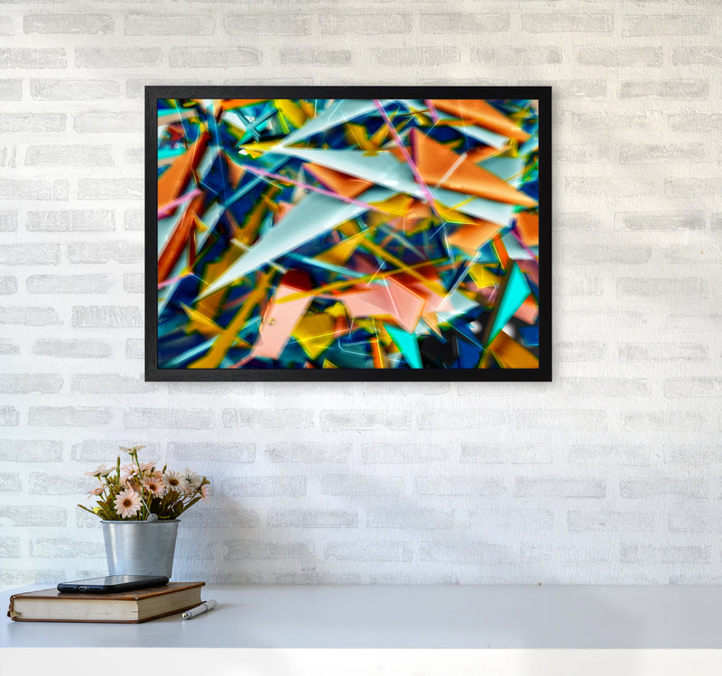 Blurred Triangles 2 Abstract Art Print by Henry Hu A2 White Frame