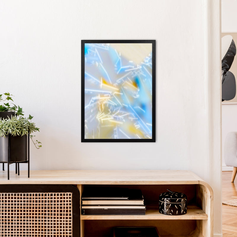 Electric Blue 2 Abstract Art Print by Henry Hu A2 White Frame