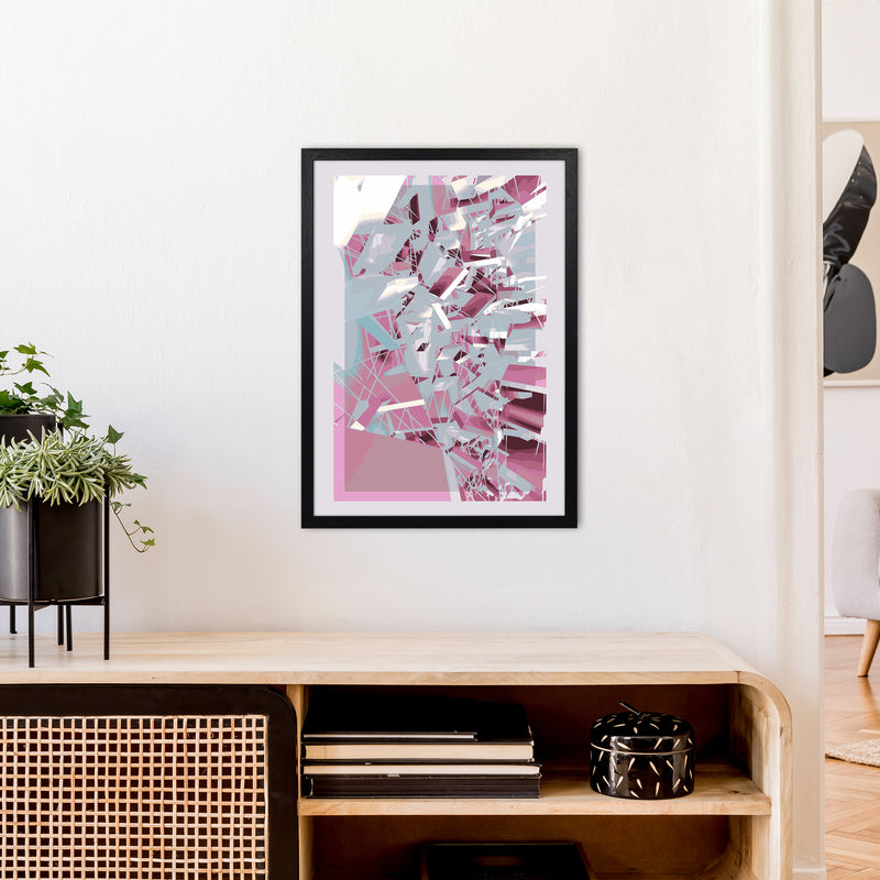 Pink & Grey Squares Abstract Art Print by Henry Hu A2 White Frame